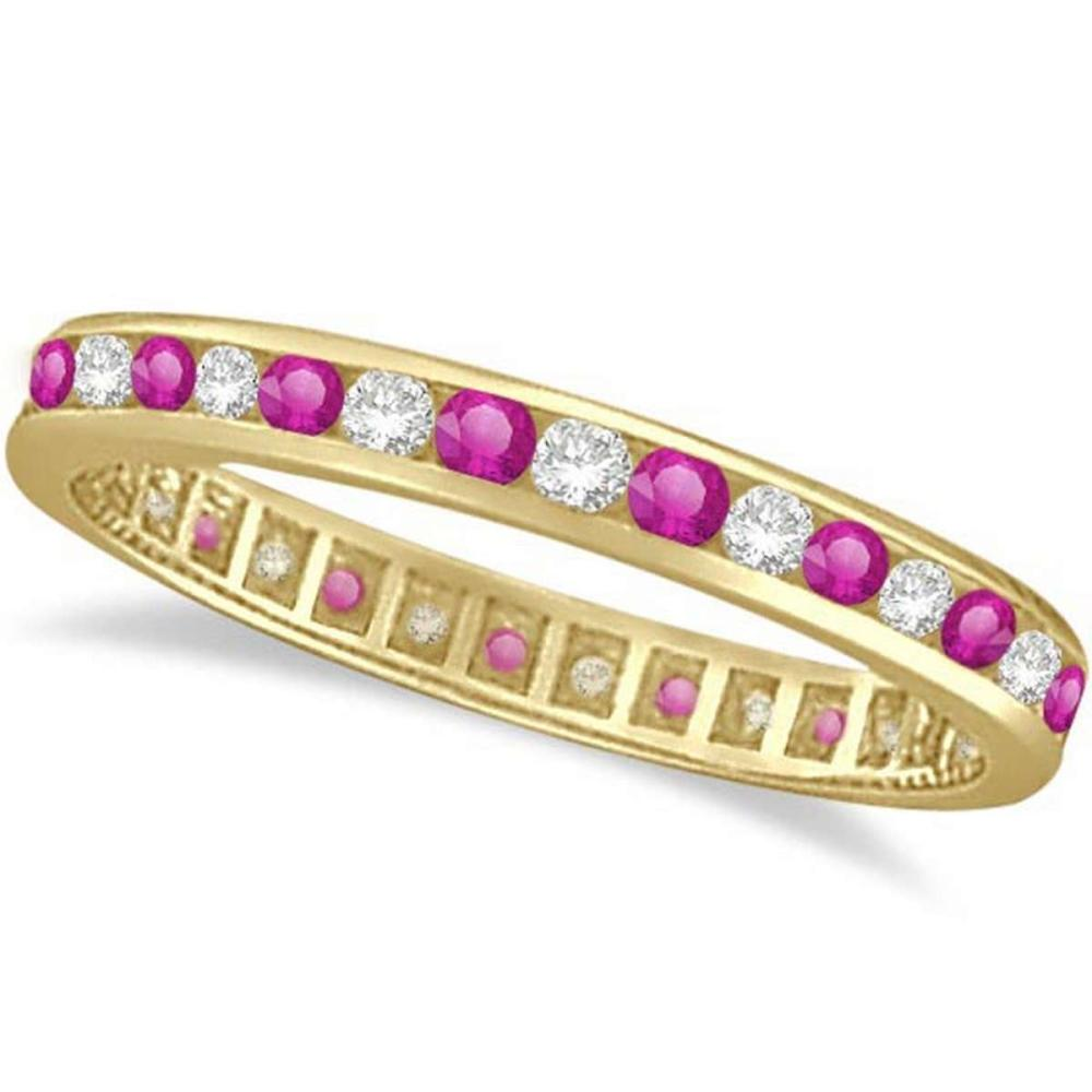 Pink Sapphire and Diamond Channel Set Eternity Band 14k Y. Gold (1.04ct) #PAPPS20857
