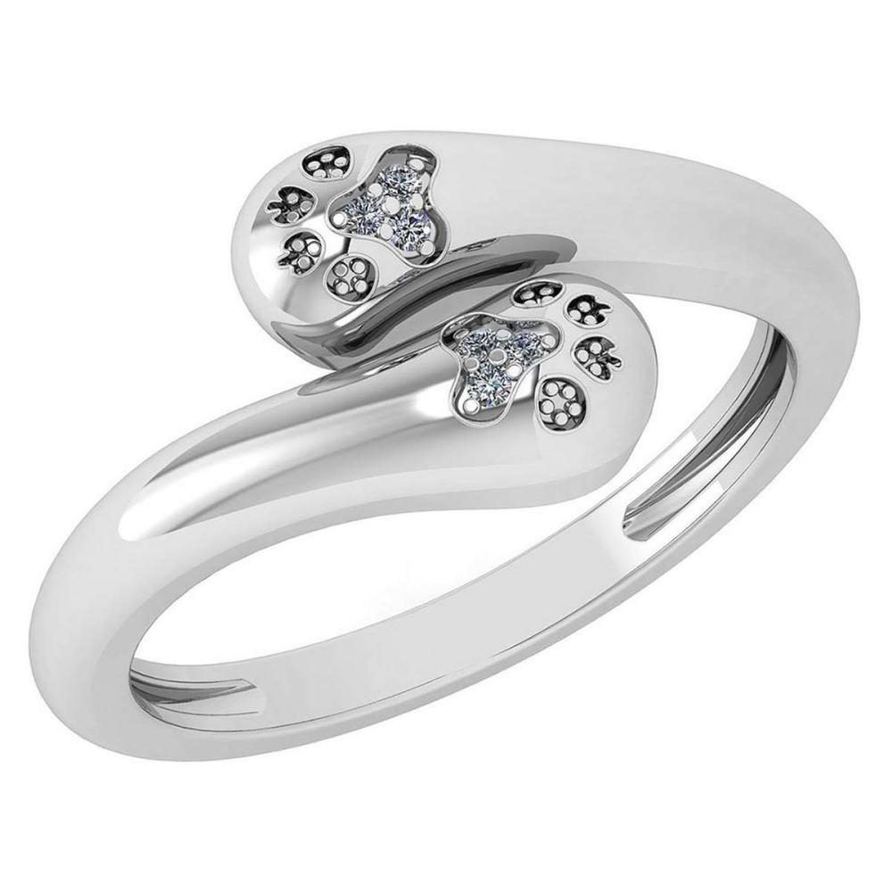 Certified 0.03 Ctw Diamond VS/SI1 Puppy Paw Ring 18k White Gold Made In USA #PAPPS22281