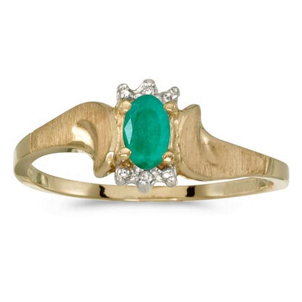 Certified 10k Yellow Gold Oval Emerald And Diamond Satin Finish Ring #PAPPS50807