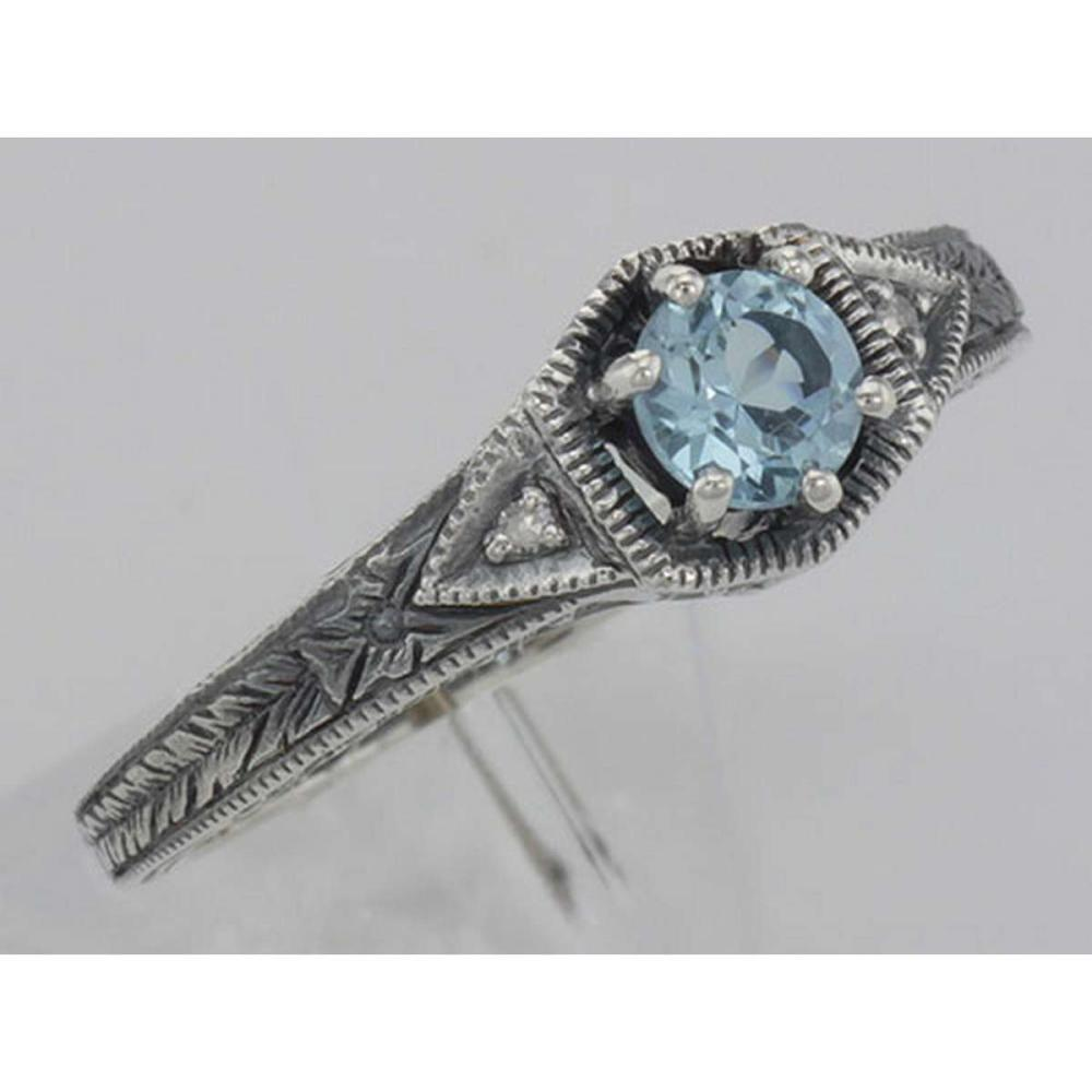Victorian Style Genuine Blue Topaz Filigree Ring w/ 2 Diamonds - Sterling Silver #PAPPS98519