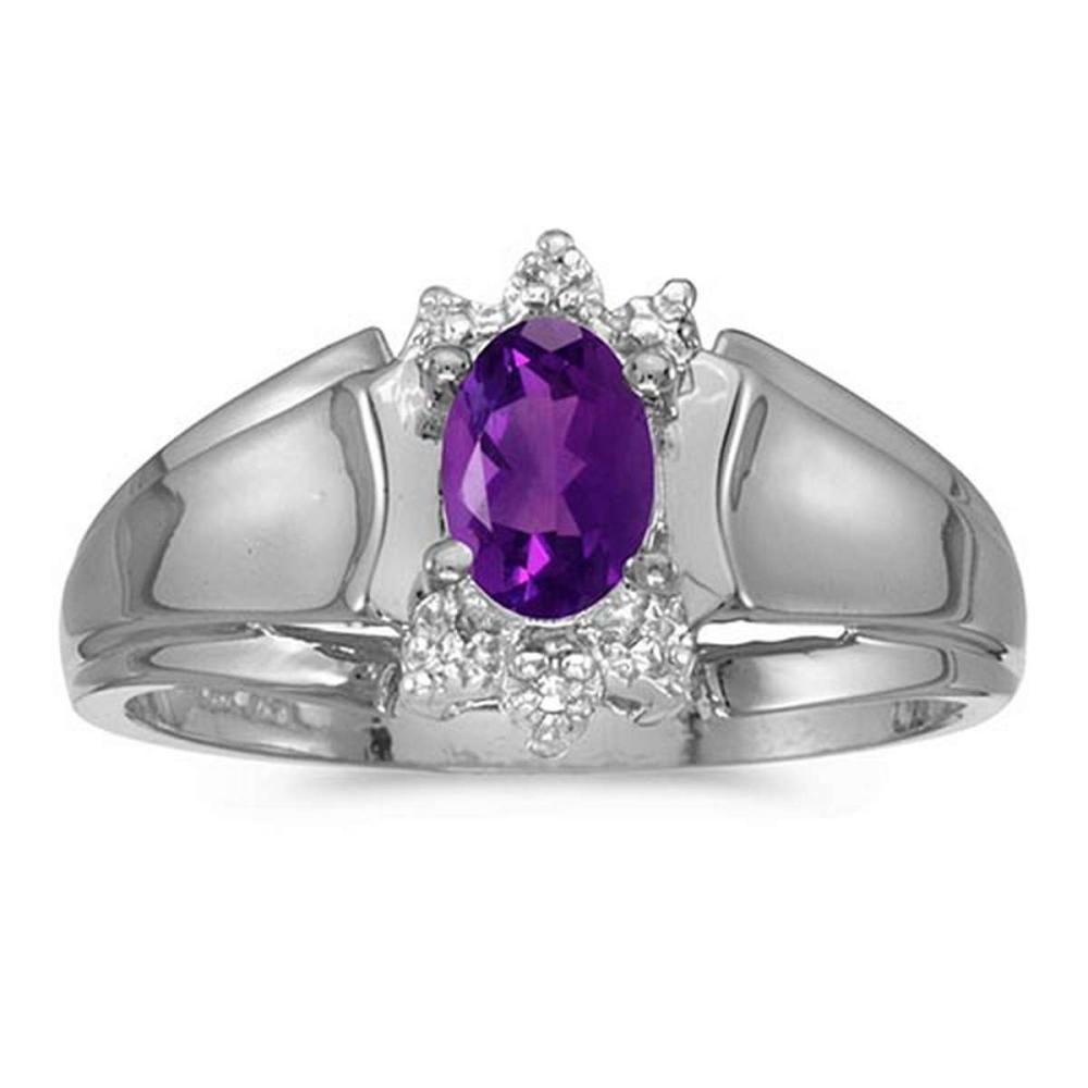 Certified 10k White Gold Oval Amethyst And Diamond Ring #PAPPS50762