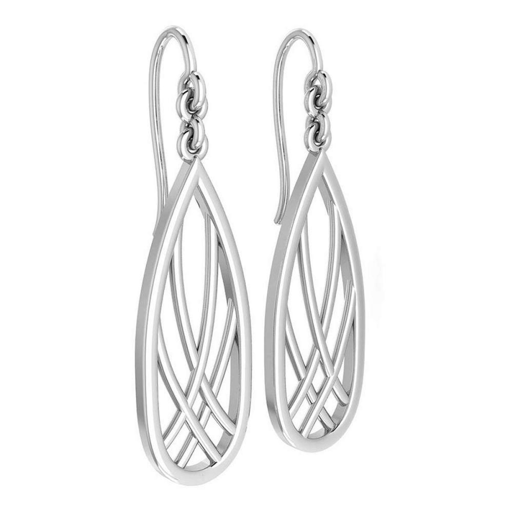 Gold Wire Hook Earrings 18K White Gold Made In Italy #PAPPS22311