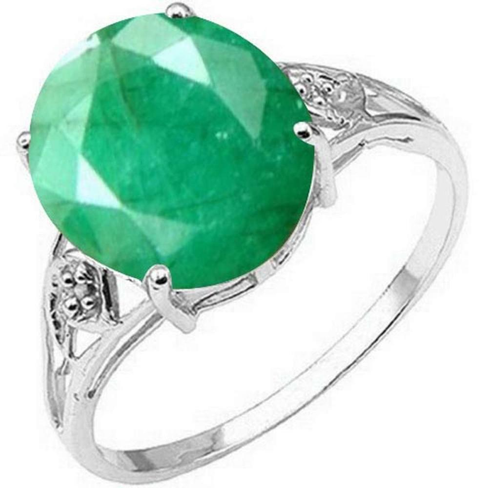 Certified 1.10 Ctw. Genuine Emerald And Diamond 14K White Gold Ring #PAPPS91139