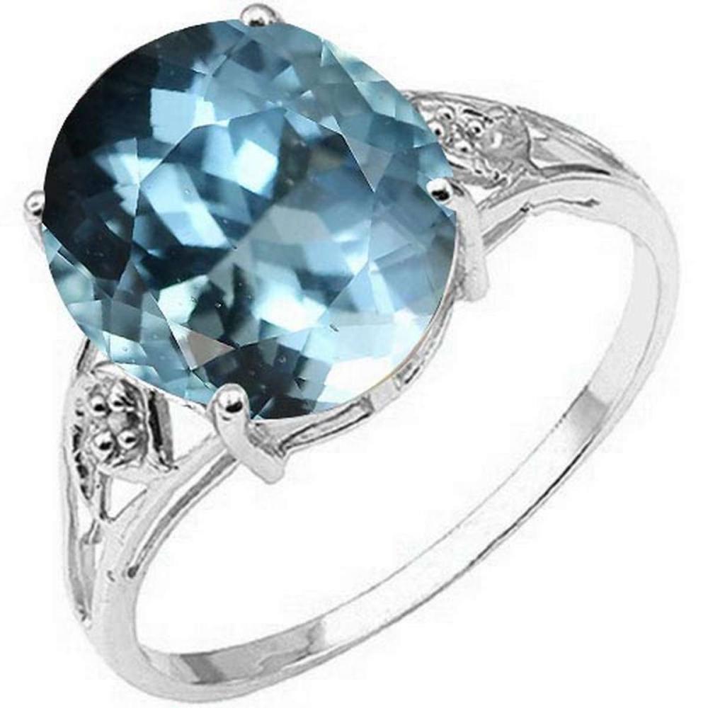 Certified 1.10 Ctw.Genuine Aquamarine And Diamond 14K white Gold #PAPPS91140