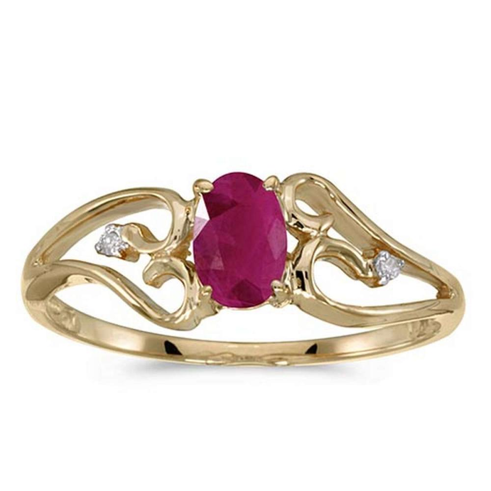 Certified 10k Yellow Gold Oval Ruby And Diamond Ring #PAPPS50742