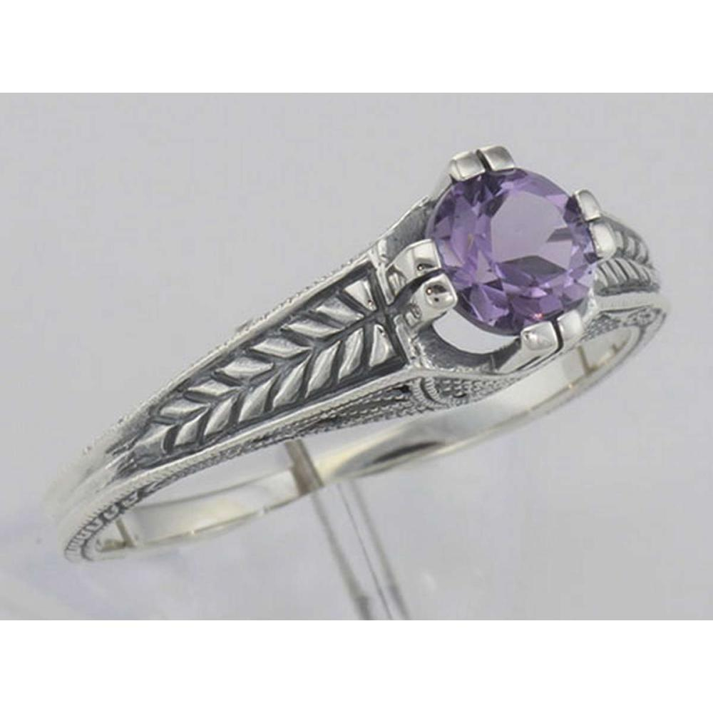 Beautiful Victorian Style Amethyst Solitare Filigree Ring - Sterling Silver #PAPPS98513