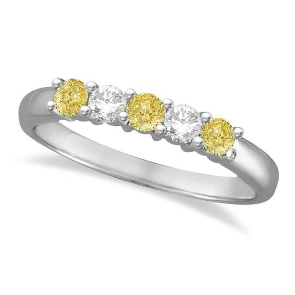 Five Stone White and Fancy Yellow Diamond Ring 14k White Gold (0.50ctw) #PAPPS21321