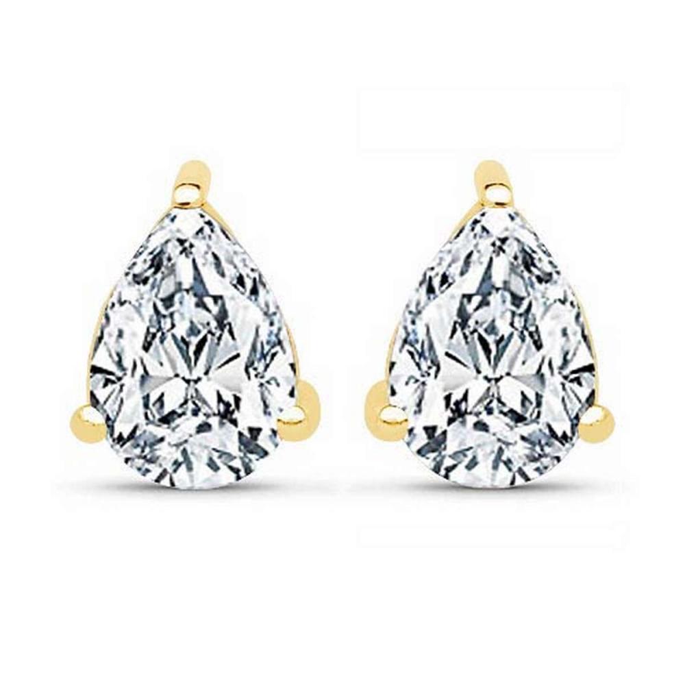 Certified 1.00 CTW Pear Diamond 14K Yellow Gold Earring #PAPPS92289