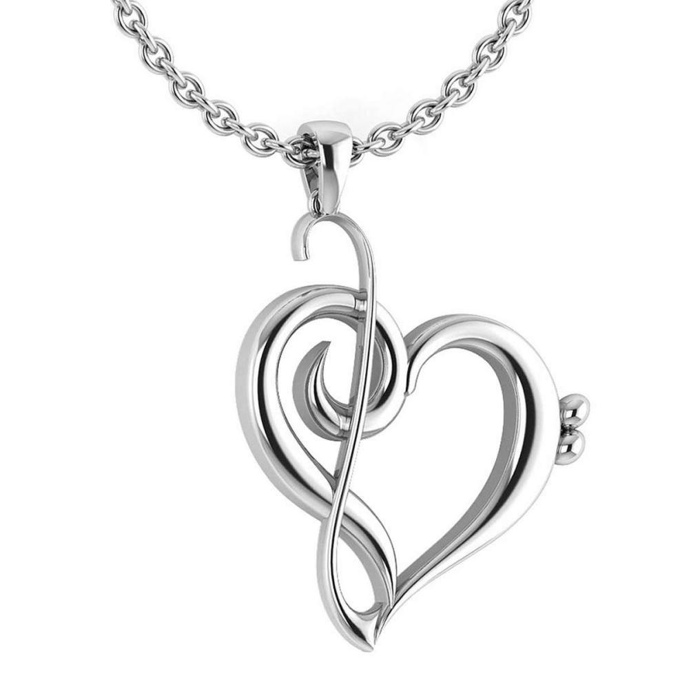 Gold Heart Shape Pendant 14K White Gold Made In Italy #PAPPS22189