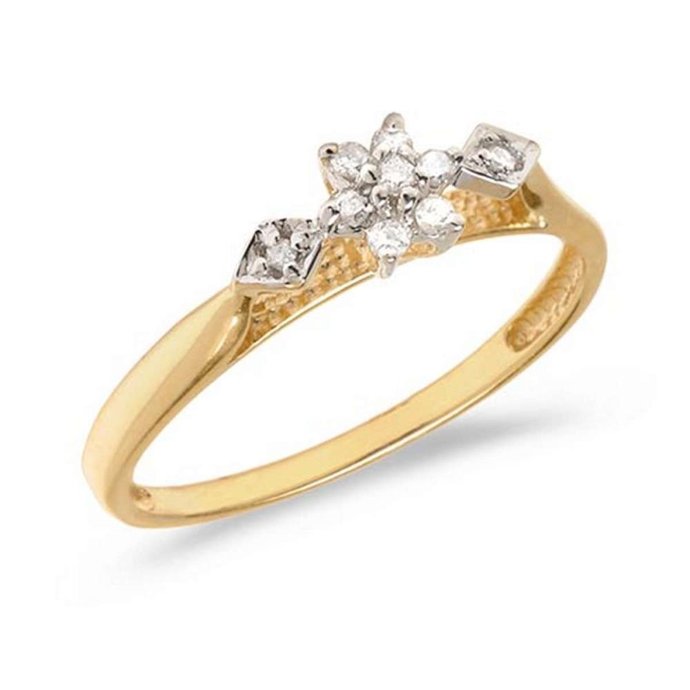 Certified 10K Yellow Gold Diamond Cluster Ring #PAPPS50728