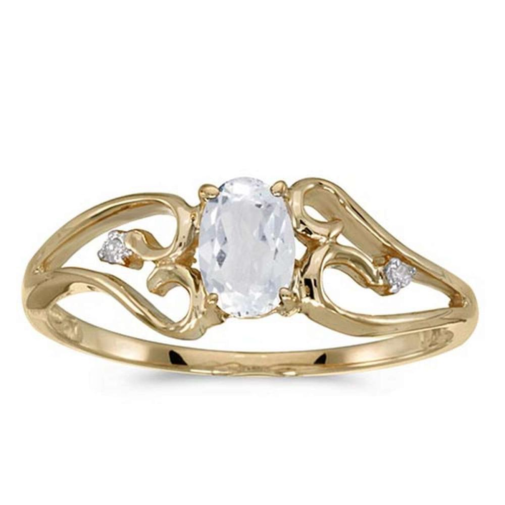 Certified 10k Yellow Gold Oval White Topaz And Diamond Ring #PAPPS50759