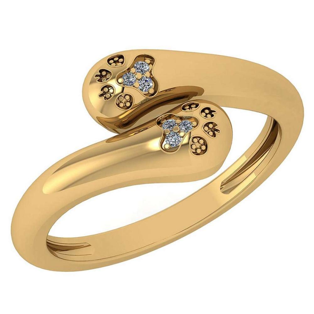 Certified 0.03 Ctw Diamond VS/SI1 Puppy Paw Ring 18k Yellow Gold Made In USA #PAPPS22283