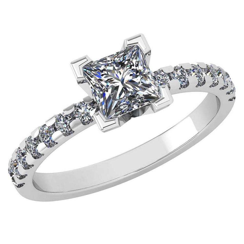 Certified 0.96 Ctw Diamond VS/SI1 Princess Cut 18K White Gold Halo Ring Made In USA #PAPPS22287