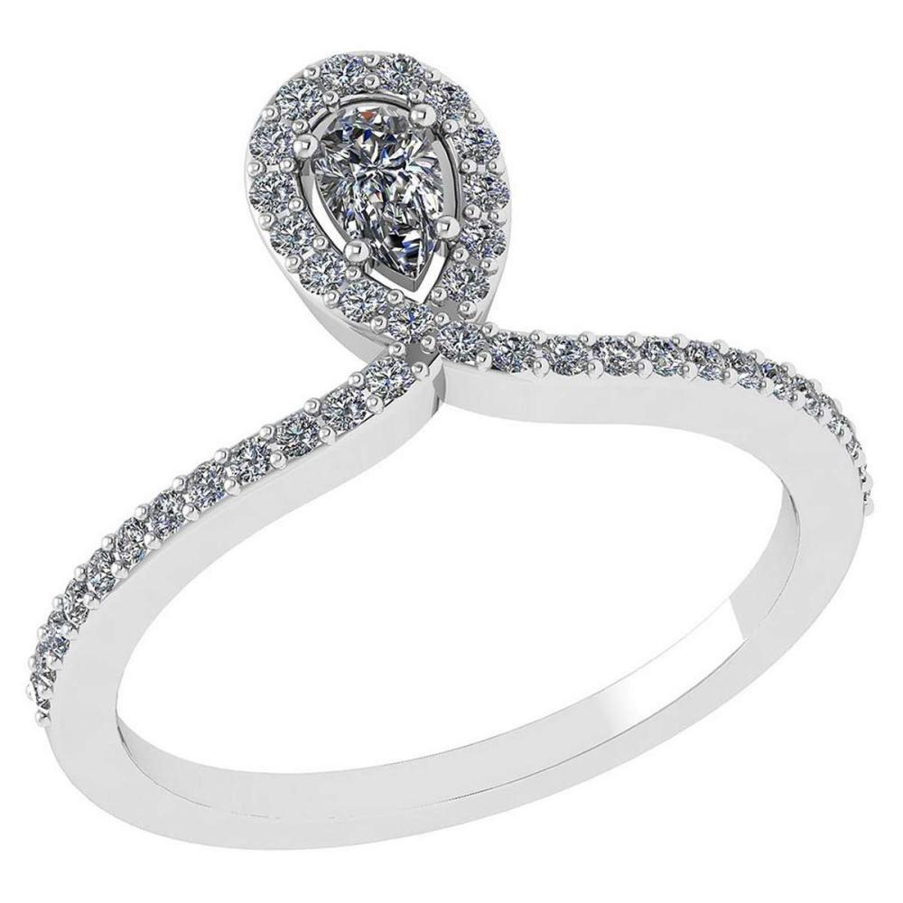 0.57 Ctw Pear Cut Diamond 14k White Gold Halo Ring VS/SI1 #PAPPS96007