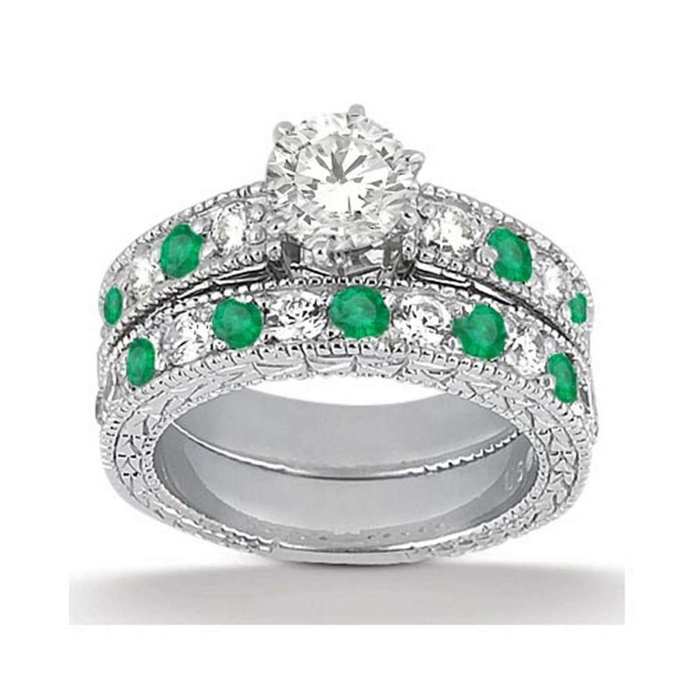 Antique Diamond and Emerald Bridal Set 14k White Gold (2.55ct) #PAPPS20561