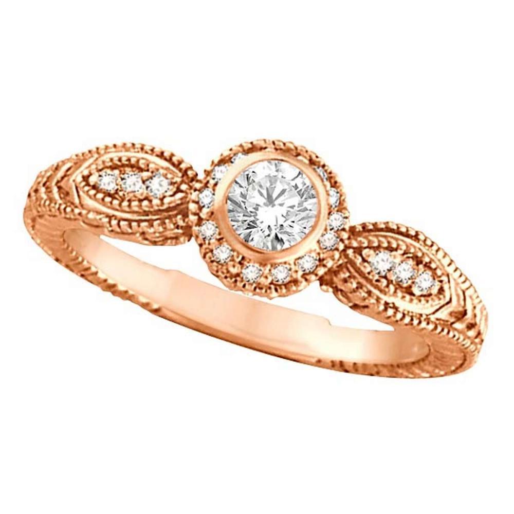 Venetian Style Diamond Bezel Ring 14K Rose Gold (0.40 ct) #PAPPS21364