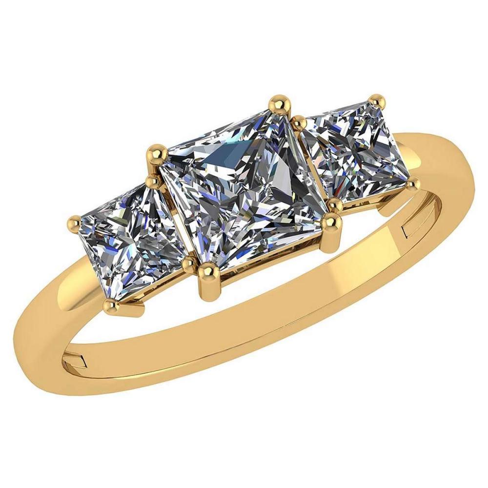 1.26 Ctw Princess Cut Diamond 14k Yellow Gold Simple Ring #PAPPS96011