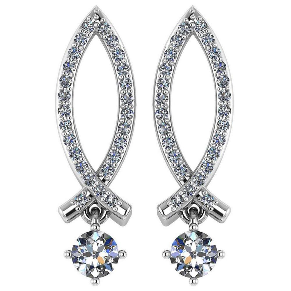 Certified .72 Ctw Diamond 14k White Gold Halo Dangling Earring VS-SI2 #PAPPS94891