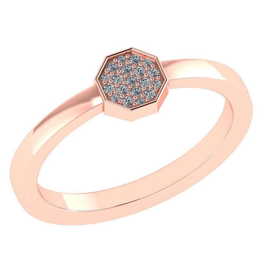 Certified .08 Ctw Diamond And 14k Rose Gold Simple Ring #PAPPS94880