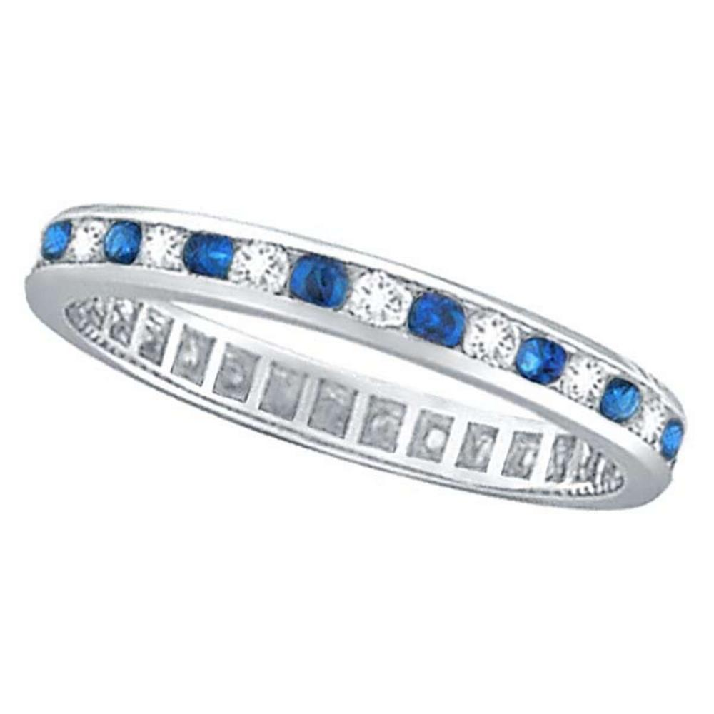 1.04ct Blue Sapphire and Diamond Channel Set Eternity Band 14k Gold Ring #PAPPS52505