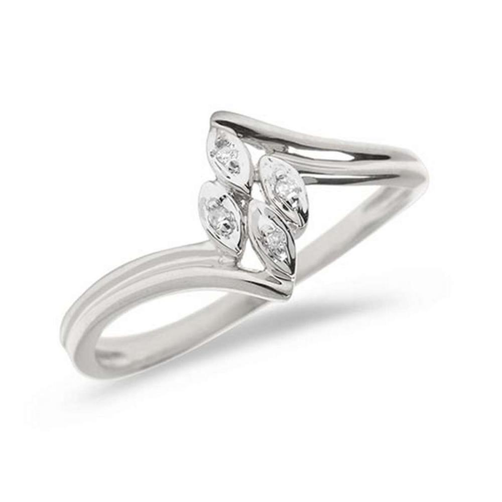 Certified 14K White Gold Diamond Leaf Ring #PAPPS50817