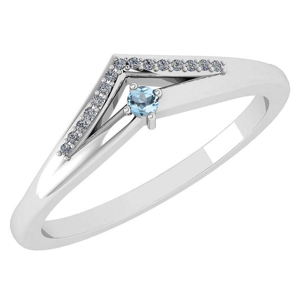 Certified 0.07 Ctw Aquamarine And Diamond 18k White Gold Halo Ring (VS/SI1) MADE IN USA #PAPPS20535