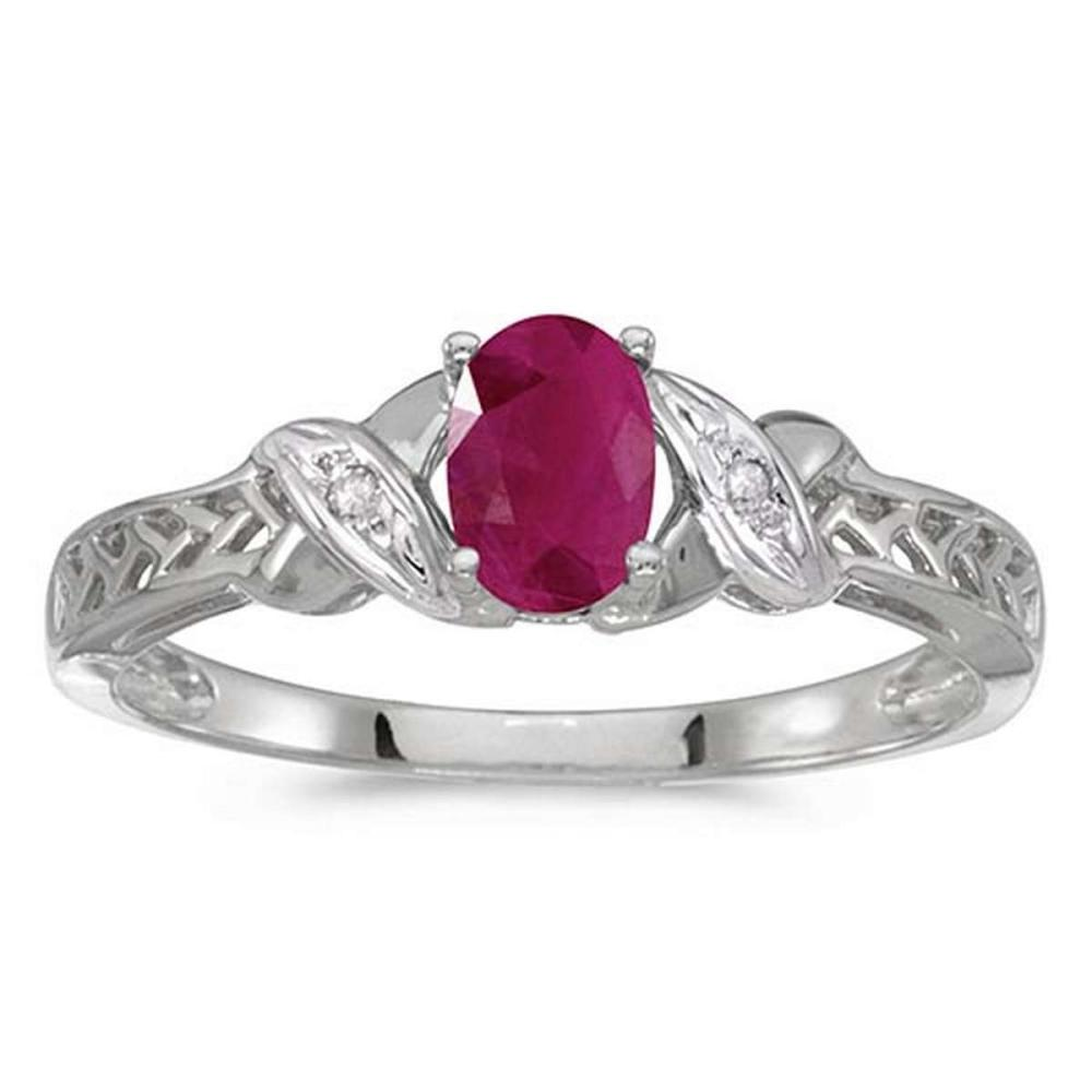Certified 14k White Gold Oval Ruby And Diamond Ring #PAPPS50809