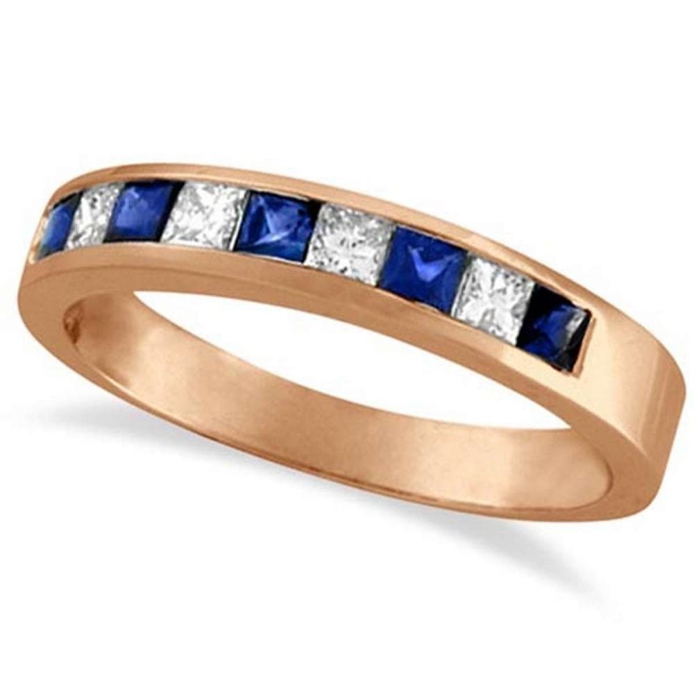Princess-Cut Channel-Set Diamond and Sapphire Ring Band 14k Rose Gold #PAPPS52956