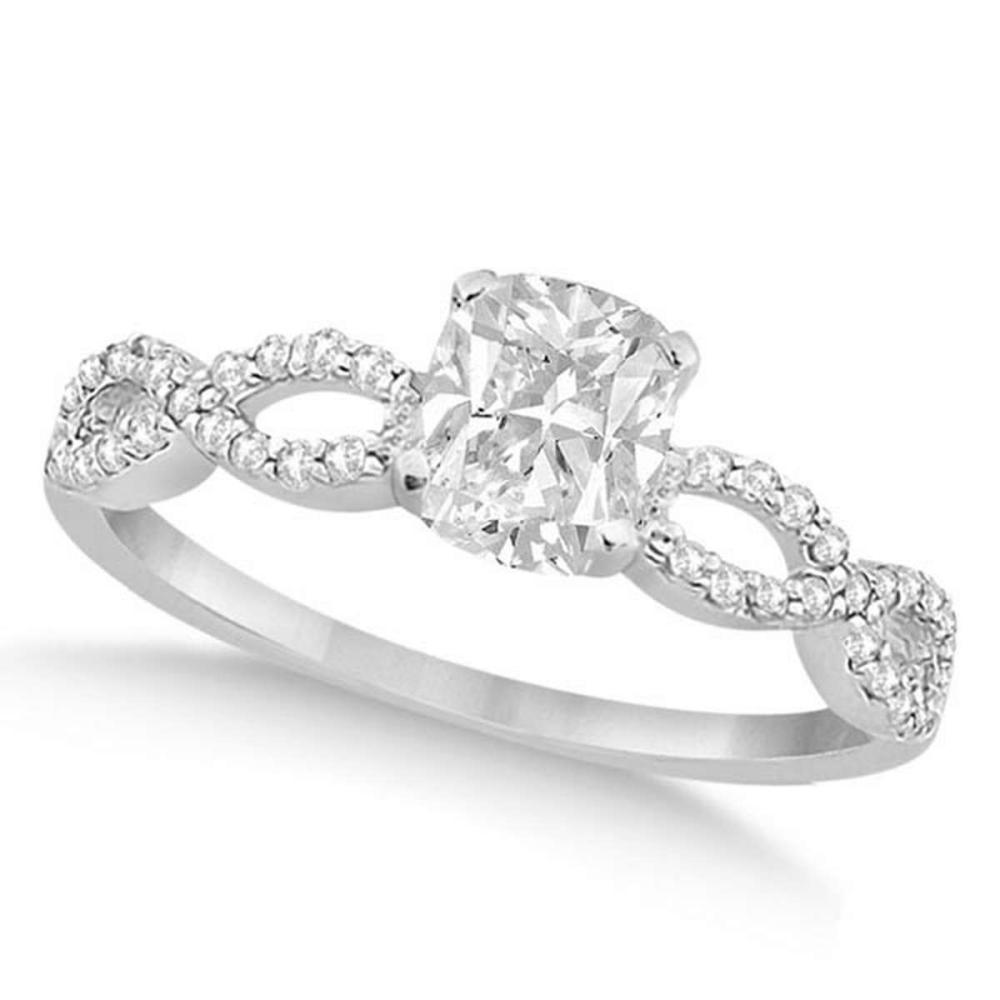 Infinity Cushion-Cut Diamond Engagement Ring 14k White Gold (0.50ct) #PAPPS20852