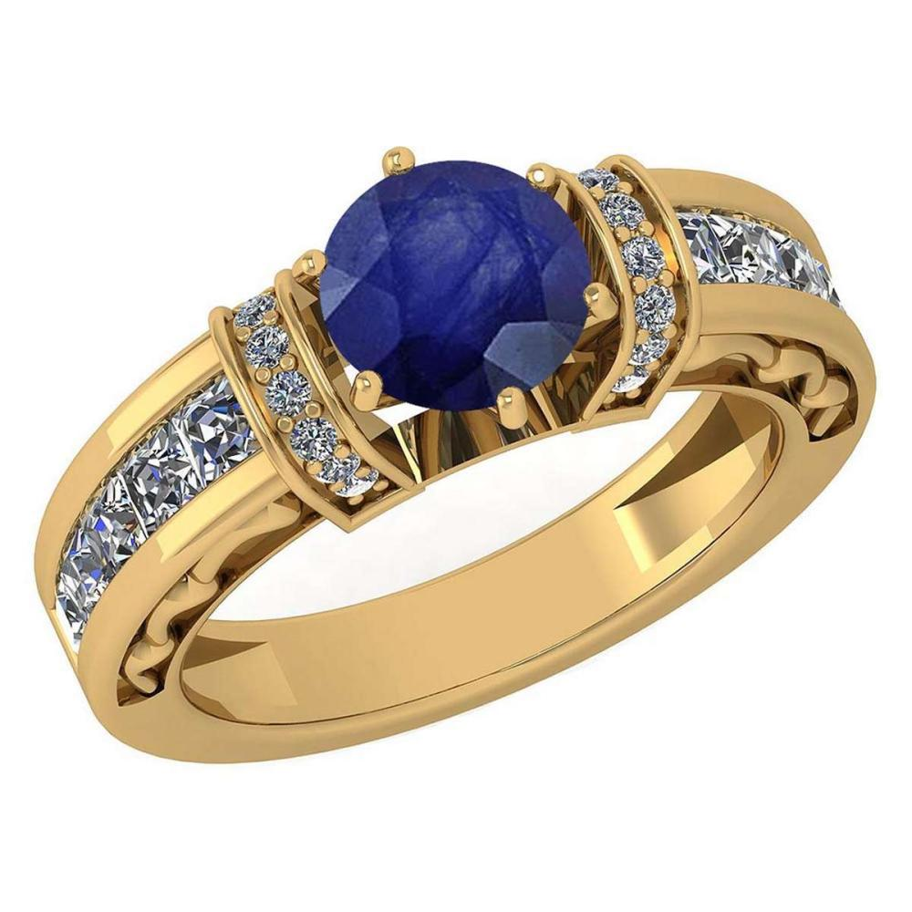 Certified 2.15 Ctw Blue Sapphire And Diamond 18K Yellow Gold Halo Ring (VS/SI1) #PAPPS19524