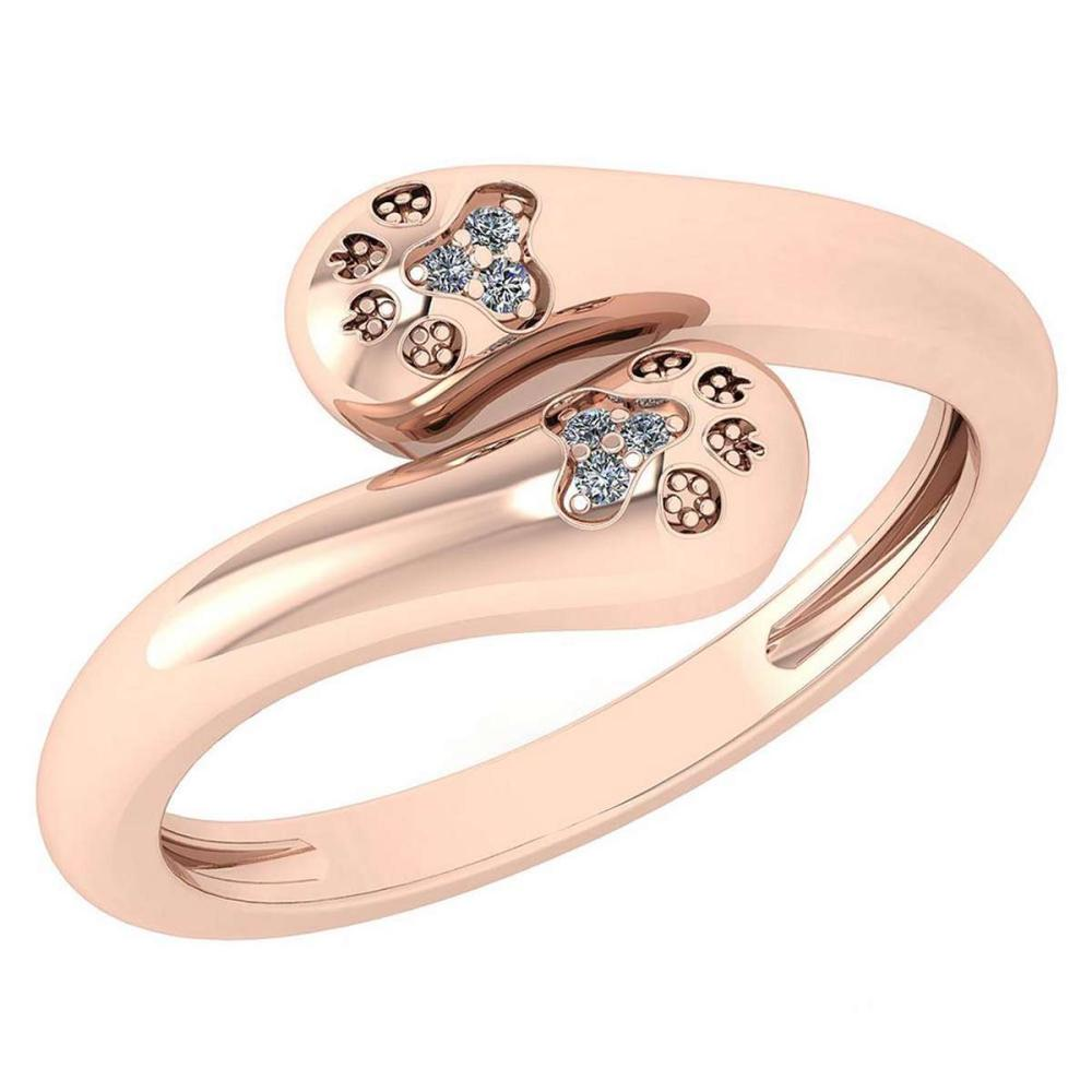 Certified 0.03 Ctw Diamond VS/SI1 Puppy Paw Ring 18k Rose Gold Made In USA #PAPPS22282