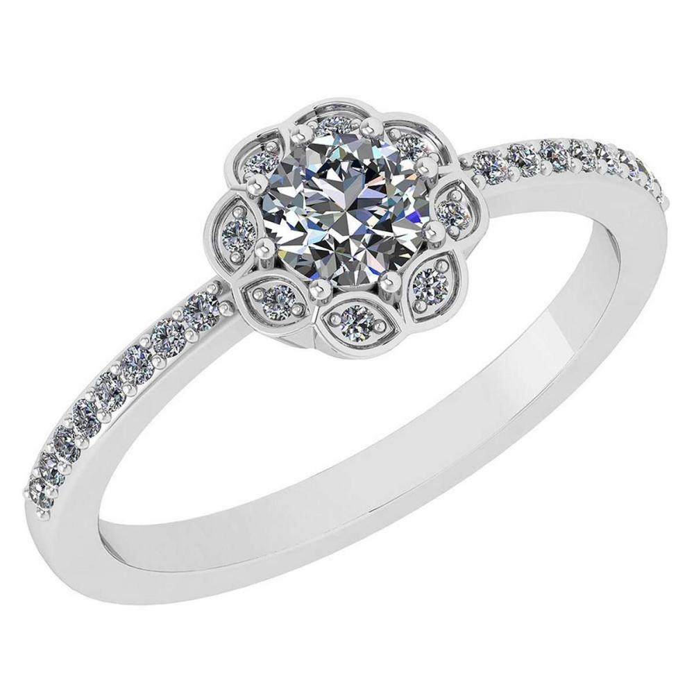 Certified .63 Ctw Diamond 14k White Gold Engagement Ring #PAPPS94885