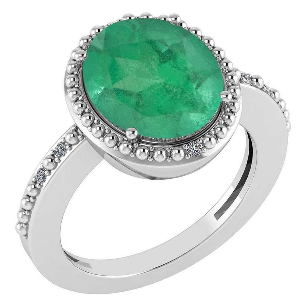 Certified 2.56 Ctw Emerald And Diamond Halo Ring 14K White Gold #PAPPS21647