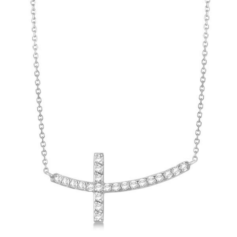 Diamond Sideways Curved Cross Pendant Necklace 14k White Gold 0.33 ct #PAPPS21348