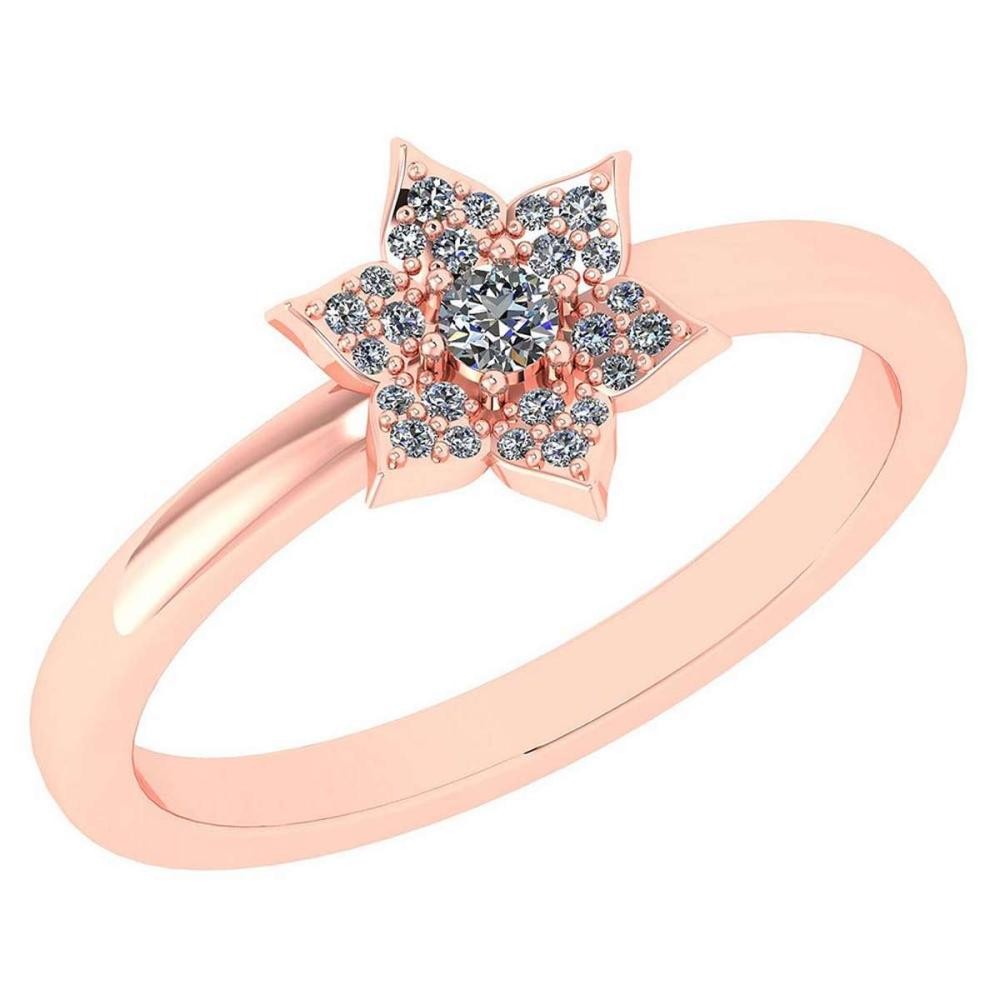 Certified .15 Ctw Diamond 14k Rose Gold Engagement Ring #PAPPS94874
