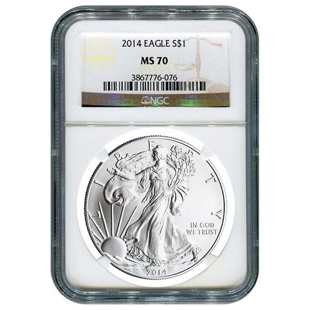 Certified Uncirculated Silver Eagle 2014 MS70 NGC #PAPPS84530