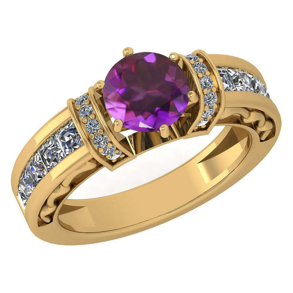 Certified 2.15 Ctw Amethyst And Diamond Ladies Fashion Halo Ring 14K Yellow Gold (VS/SI1) MADE IN USA #PAPPS21054