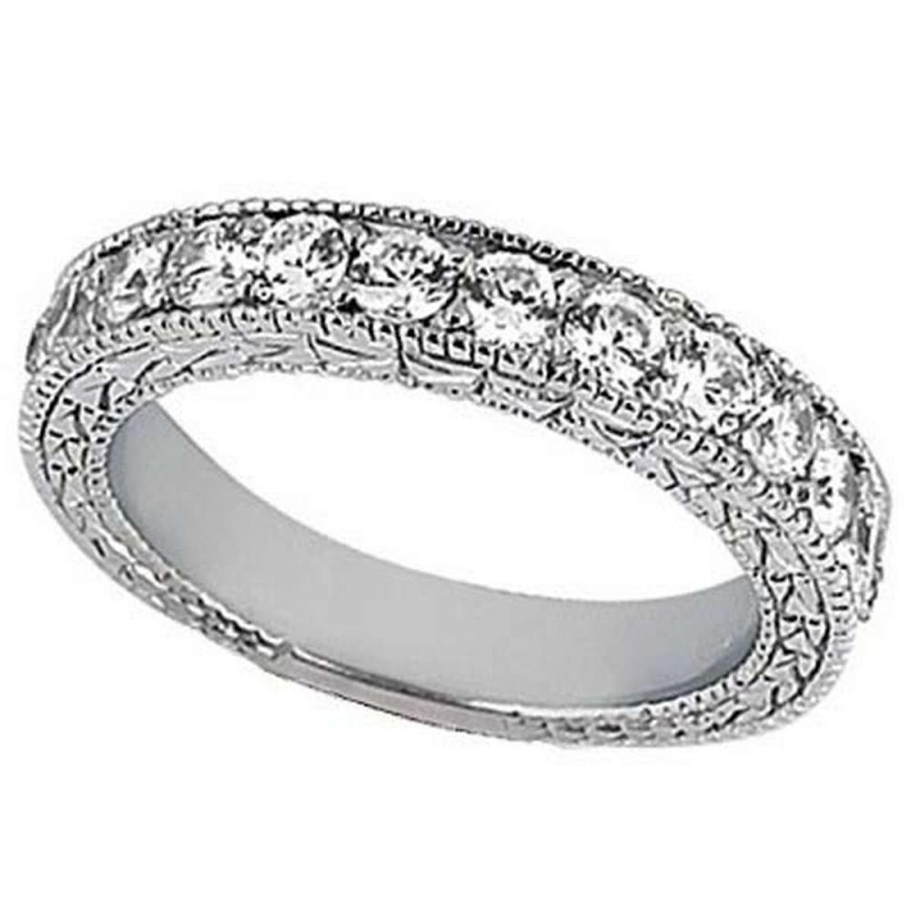 Antique Style Pave Set Wedding Ring Band 14k White Gold (1.00ct) #PAPPS20564