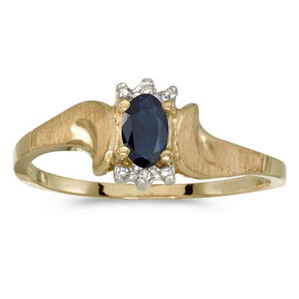 Certified 10k Yellow Gold Oval Sapphire And Diamond Satin Finish Ring #PAPPS50769