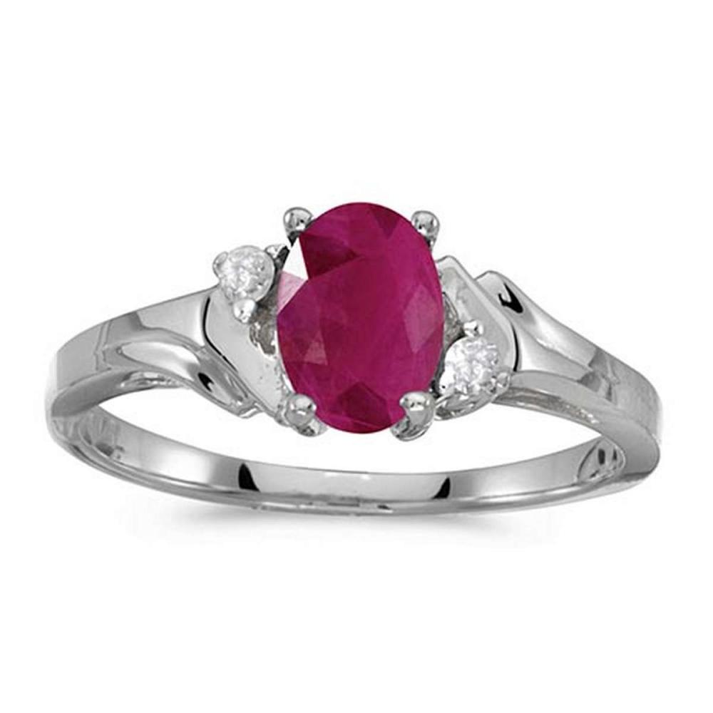 Certified 14k White Gold Oval Ruby And Diamond Ring #PAPPS50802