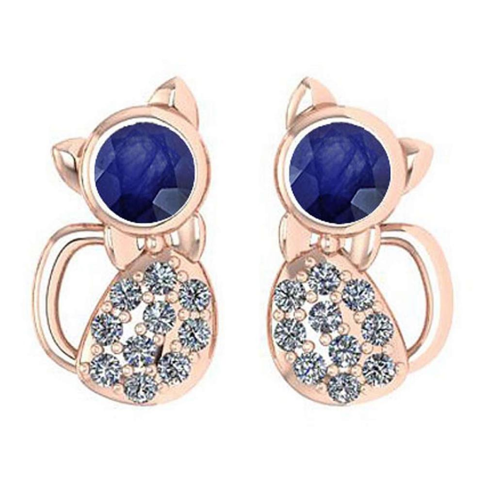 Certified 0.30 Ctw Blue Sapphire And Diamond Cat Style Earrings 18K Rose Gold #PAPPS19753