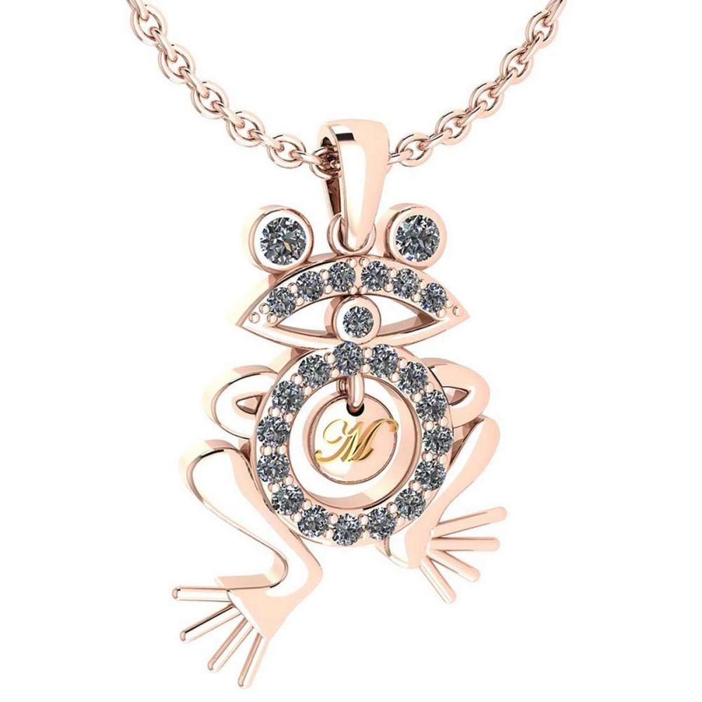 Certified 0.66 Ctw Diamond Frog Necklace Animal New collection 18K Rose Gold #PAPPS19506