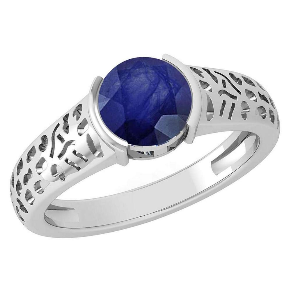 Certified 1.25 Ctw Blue Sapphire 18K White Gold Solitaire Ring #PAPPS19789