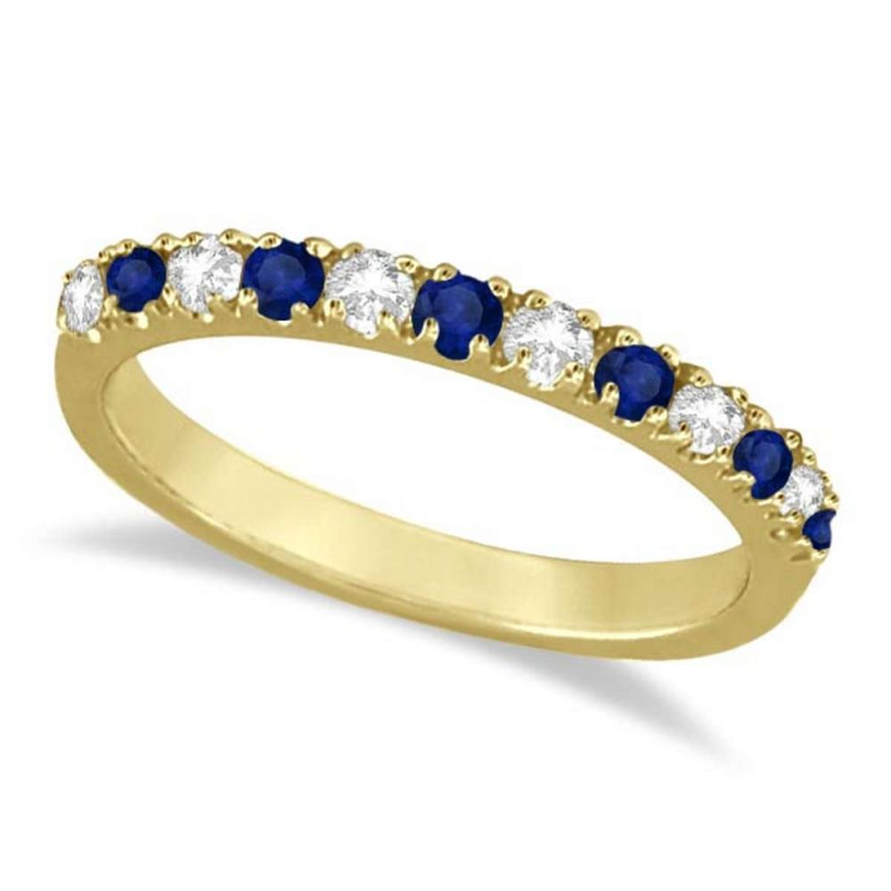 Diamond and Blue Sapphire Ring Anniversary Band 14k Yellow Gold (0.32ct) #PAPPS21031