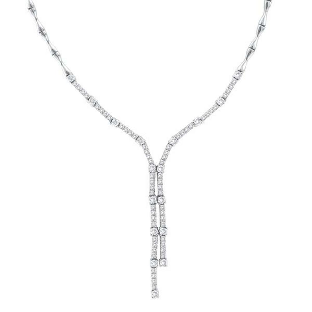 Diamond Tie Lariat Choker Necklace in 14K White Gold (2.25ct) #PAPPS20590
