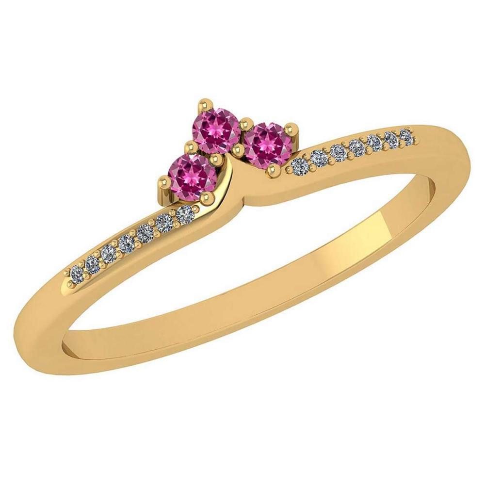 Certified 0.13 Ctw Pink Tourmaline And Diamond 18k Yellow Gold Halo Ring (VS/SI1) MADE IN USA #PAPPS20498