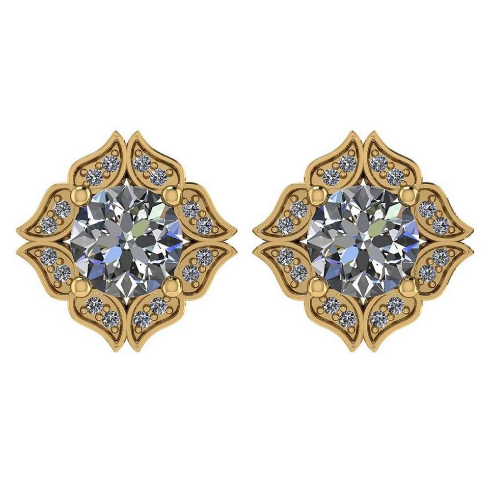 Certified .98 Ctw Diamond 14k Yellow Gold Halo Stud Earring #PAPPS94876