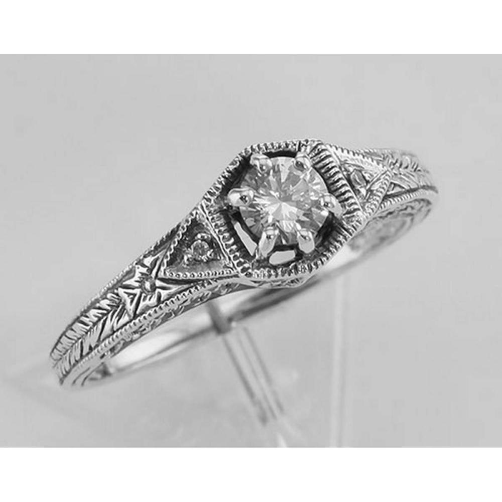 Victorian Style Cubic Zirconia Filigree Ring w/ 2 Diamonds - Sterling Silver #PAPPS97716
