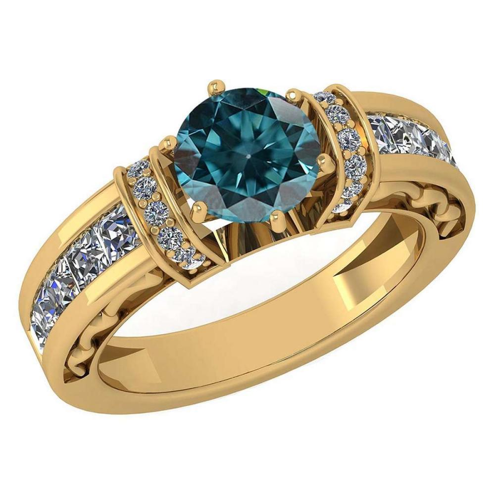 Certified 2.15 Ctw Treated Fancy Blue Diamond And White Diamond 18K Yellow Gold Halo Ring (SI2/I1) #PAPPS19522
