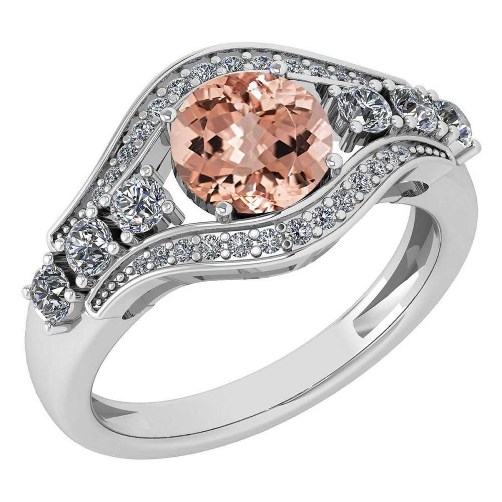Certified 1.80 Ctw Morganite And Diamond Ladies Fashion Halo Ring 14K White Gold (VS/SI1) MADE IN USA #PAPPS21073